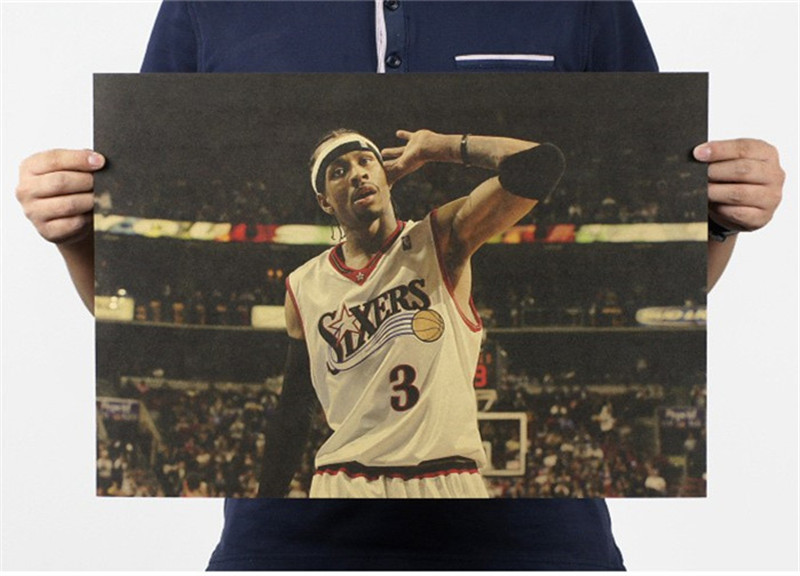 official photos 80758 8bf15 US $1.37 31% OFF|Vintage NBA Basketball Star Classic Allen Iverson Poster  Bar Cafe Home Decor Retro Kraft Paper Wall Sticker 50x34cm-in Wall Stickers  ...