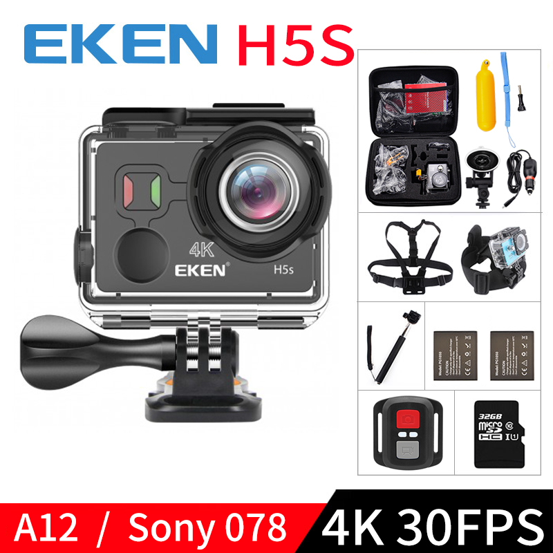 EKEN H5S A12 Ultra 4K 30FPS Wifi Action Camera 30M waterproof 1080p go EIS Image Stabilization Ambarella 12MP pro sport cam 2017 arrival original eken action camera h9 h9r 4k sport camera with remote hd wifi 1080p 30fps go waterproof pro actoin cam
