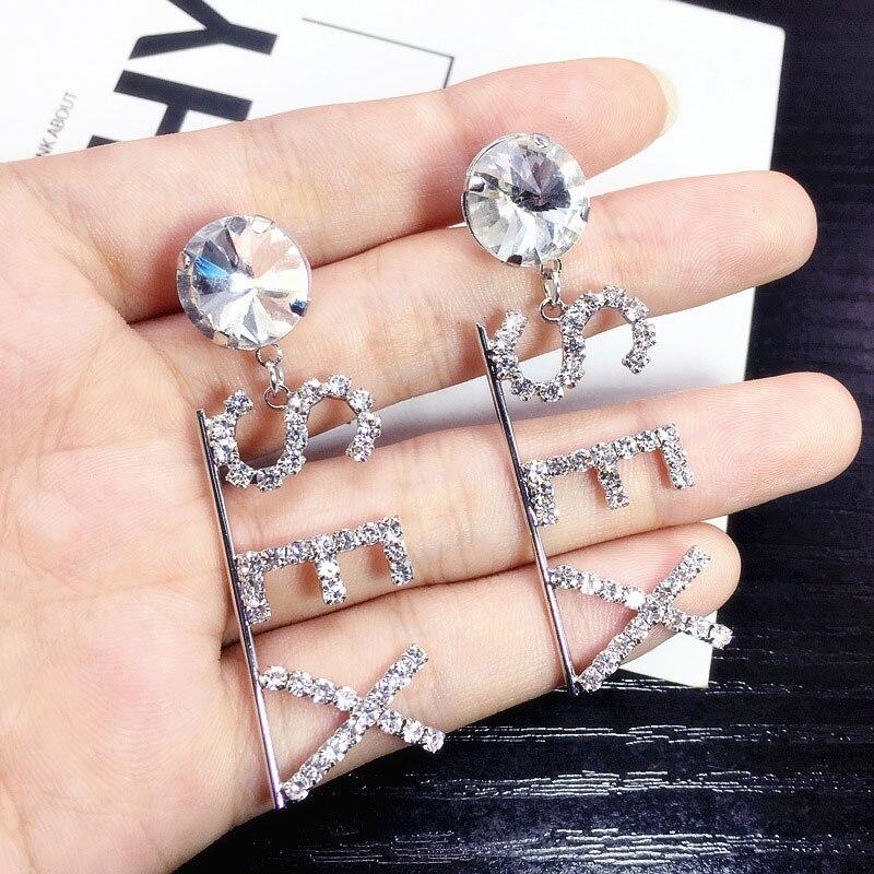 Luxury Trendy Full Rhinestone Letter SEX Earrings Fashion Nightclub For Woman Earring in Stud Earrings from Jewelry Accessories