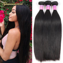 Peruvian Hair Weave Straight Hair Bundles 100% Human Hair Bundles Natural Color 1/3/4 Bundles Glamorousremi Hair Extensions Sale(China)