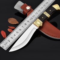 Handmade Hunting Knife 7Cr13Mov Blade Ebony Wood Handle Survival Handmade Forged Hunting Knife 58 HRC Steel