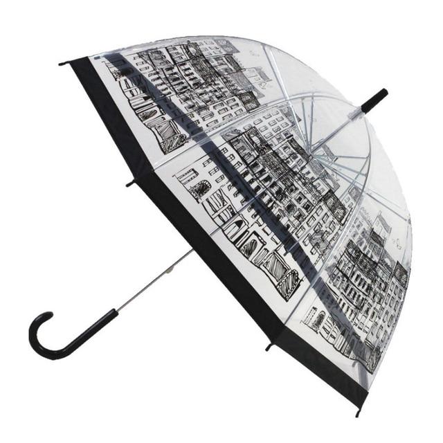 SAFEBET прозрачная птица каркасный Зонт мультфильм здание зонтики полуавтоматический Apollo город длинная ручка с зонтиком детские зонтики