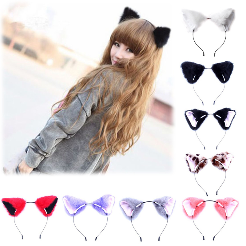 Hot Women Girls Cat Ears Headbands Hair Bands Fashion Fox Plush   Headwear   Soft Plush Bezel Party Hair Accessories