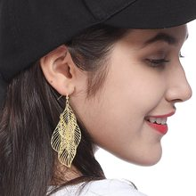 New Gold / Silver/Black Color Leaves Earrings Long Ladies Multi-storey Hollow Large Pendant Earrings Fashion Jewelry Gifts(China)