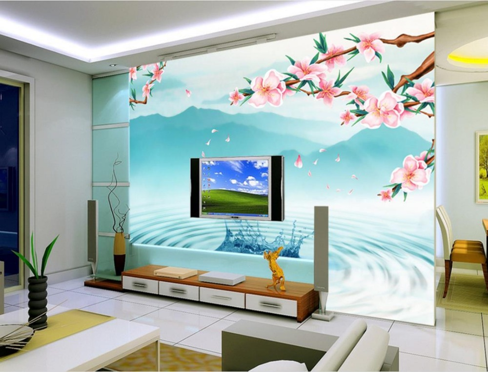 Chinese peach reflection wallpaper custom nature wallpaper non-woven 3d photo wallpaper