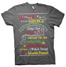 Gildan mens tshirt ELF MAP-Funny Holiday Ugly Christmas Sweater Style T-shirt