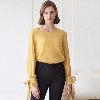 100% Silk Blouse Women Shirt Solid Vintage Design O Neck Drop-shoulder Long Sleeves Elegant Style 3 Colors Top New Fashion 2019