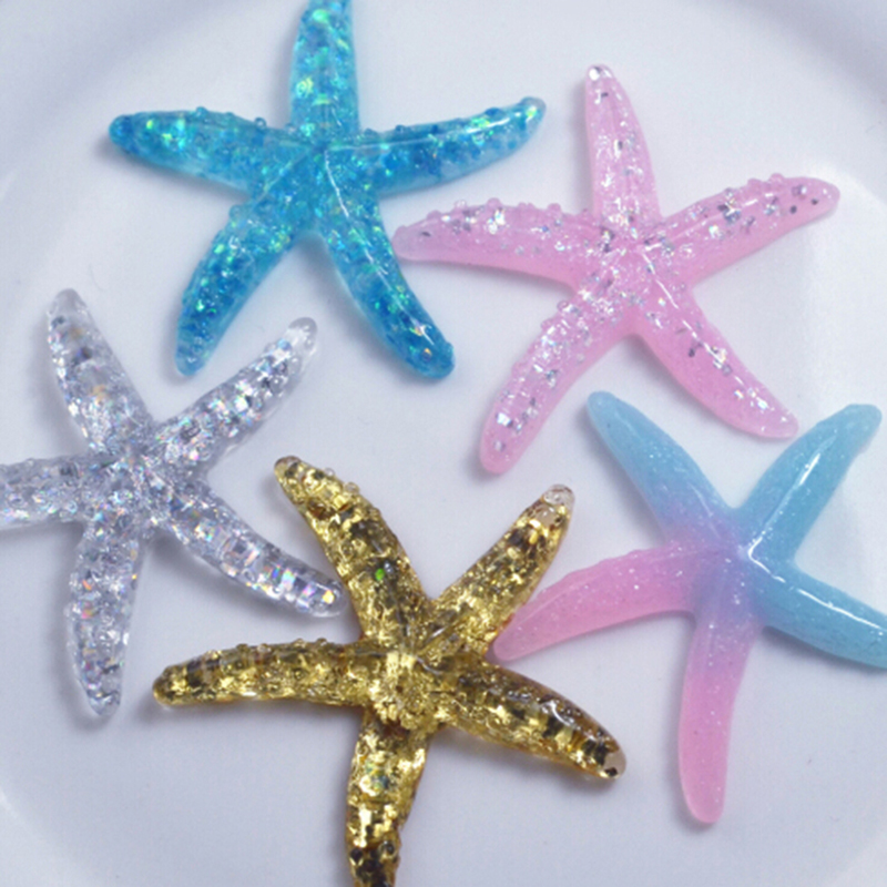 10pcs DIY Resin Adorable Glitter Colorful Starfish Shell For Home Wedding Decor Crafts Making Scrapbooking DIY Hair Bow Center