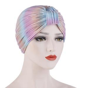 Image 3 - Kadınlar kemo kap şapka pilili islami türban düz renk kasketleri Skullies başörtüsü Wrap hindistan şapka kaput şapkalar İslam arap kap