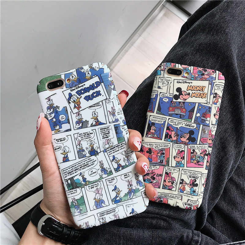 HYSOWENDLY Bonito Mickey Minnie Donald Duck Caso para iPhone X 10 6 Completa Body Armor PC Back Capas para iPhone 7 8 6 s Plus XR XS Max