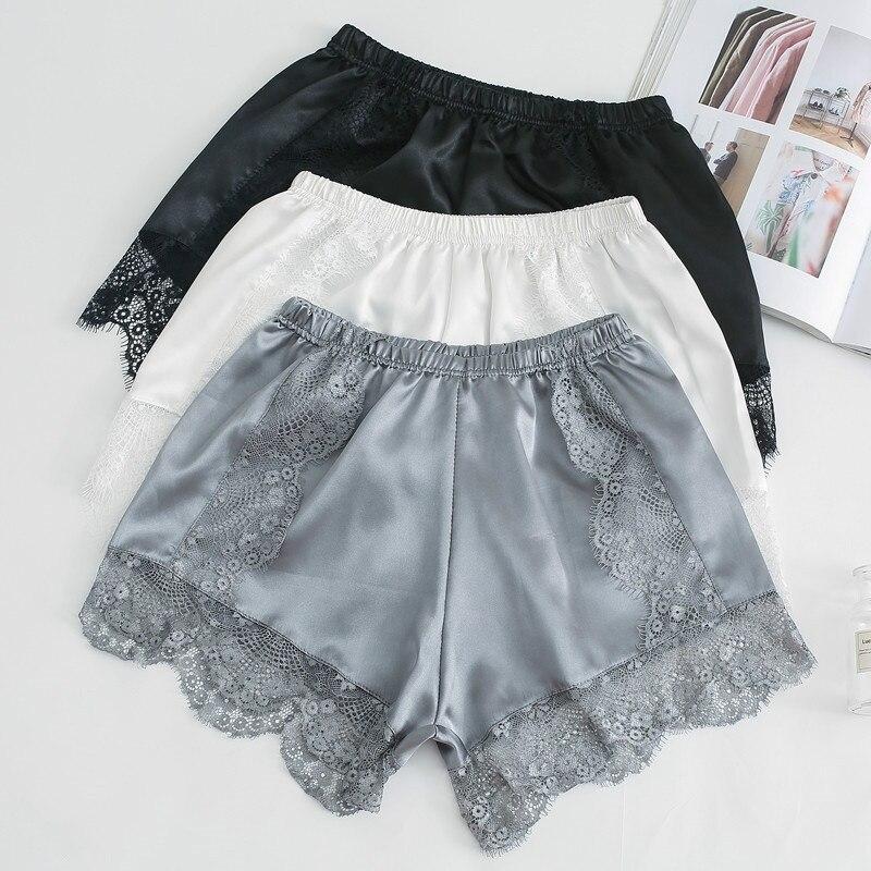 Lace Women Shorts Faux Silk Underpants Elastic Waist Cotton Breathable Ladies Undershorts