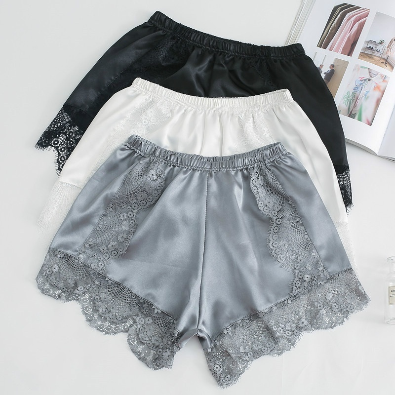 Lace Women   Shorts   Faux Silk Underpants Elastic Waist Cotton Breathable Ladies Undershorts