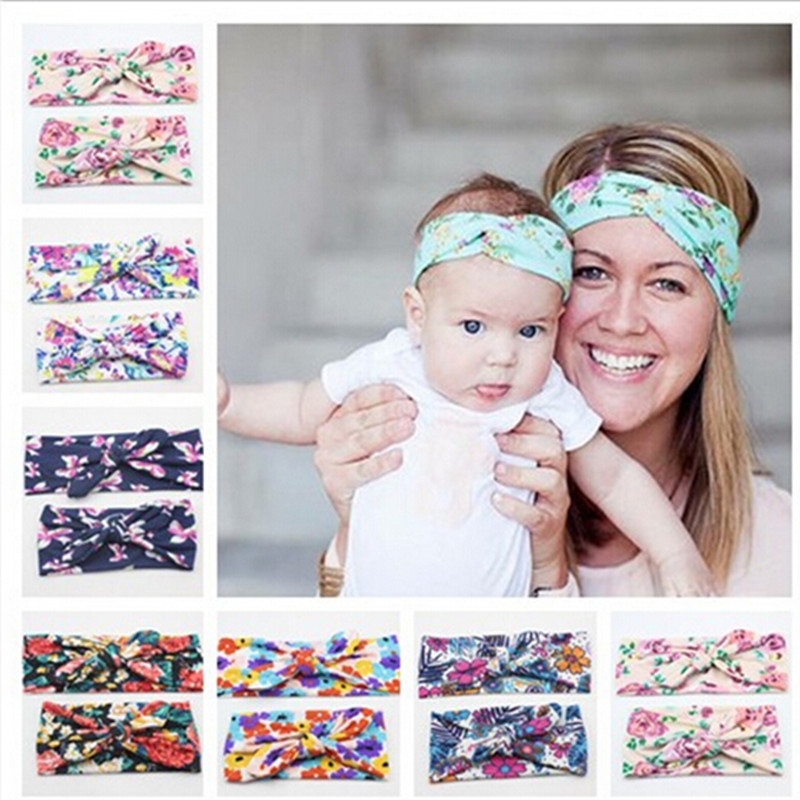 2PC/Set Mum baby Mother Daughter Parent Child rabbit ears Bowknot Headband Cute Hairband Turban Knot Accessories Headwear awaytr korean hairband for women girls cute headband cat ears hair hoops with sequins hair accessories party birthday headwear