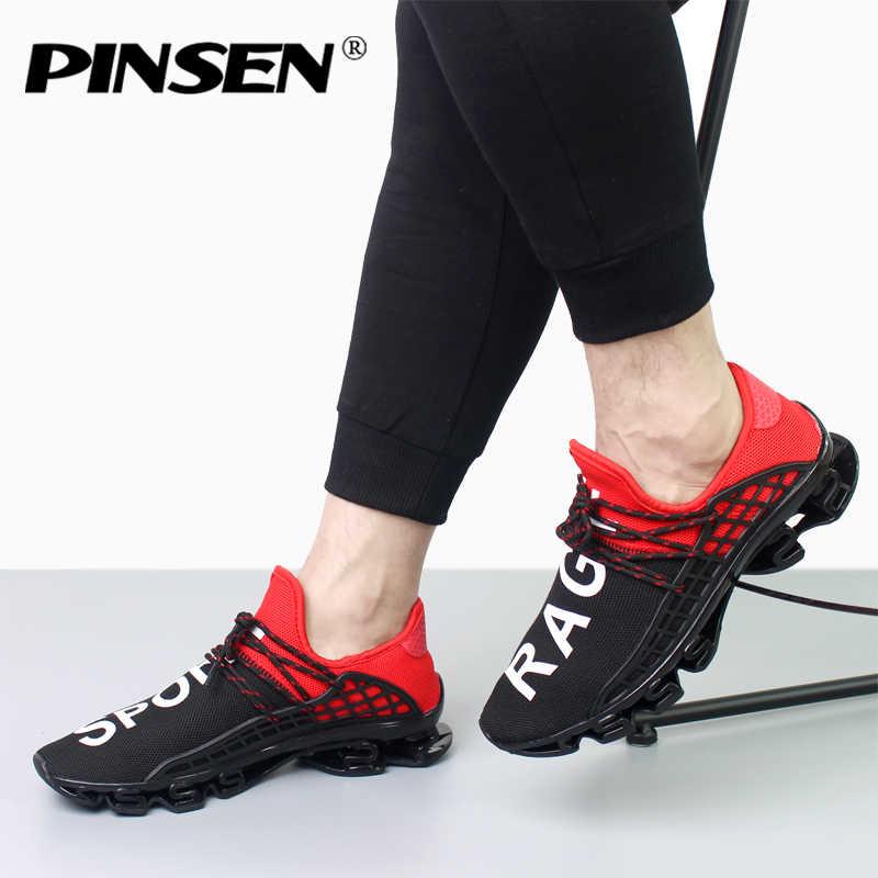 PINSEN 2018 Men Shoes Human Race Lace