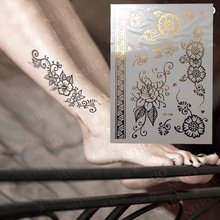 Beautiful Flower Gold Henna Temporary Tattoo For Right Foot Inspired Body Sticker
