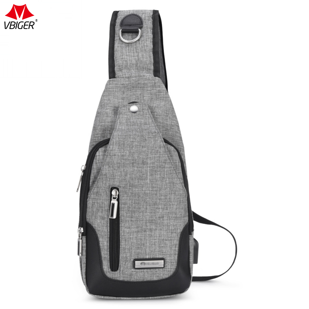 9d16e4fe93a0 Vbiger Canvas Men Handbags Sling Messenger Bag USB Rechargeable Chest Pack  Casual Chest Bags Cross Body Satchel Bag Unisex-in Waist Packs from Luggage  ...