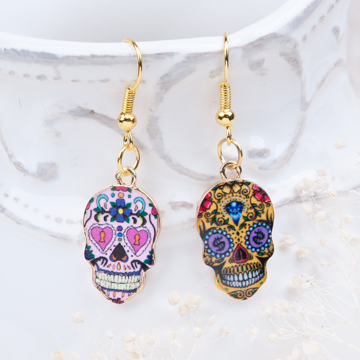 Doreen Box Day Of The Dead Earrings Gold color Sugar Skull Pattern 41mm x 13mm,1 Pair 2017 new