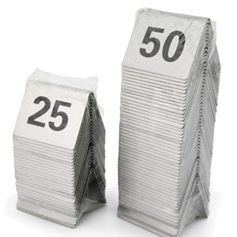 1 to 50 Stainless steel Table Number Cards Wedding Restaurant Cafe Bar Table Numbers Stick Set