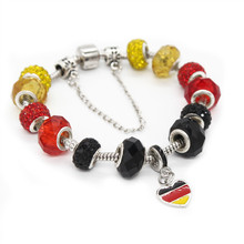 Poshfeel Diy Germany Flag Charm Bracelets For Women With Glass Beads Crystal Jewelry Pulsera Mbr170307(China)