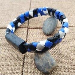 Bracelet de câble de cordon en cuir tissé hybride tricolore multi-fonction bracelet de cordon de charge de téléphone portable