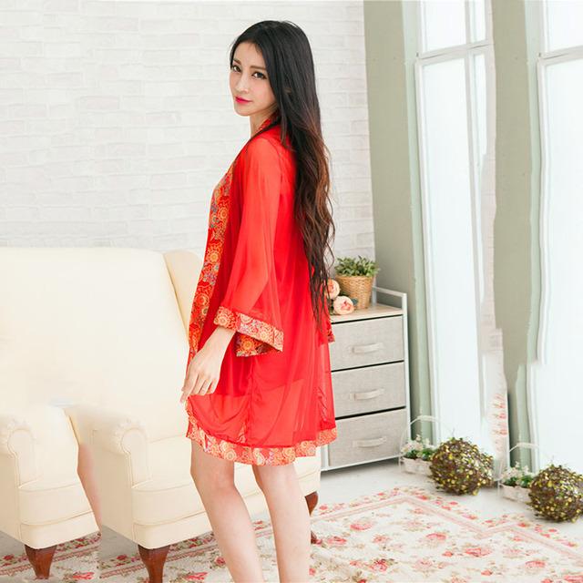 Lingerie Sexy Quente Laço Vermelho Kimono Intimate Pijamas Robe Lingerie Sexy Vestido de Noite das Mulheres