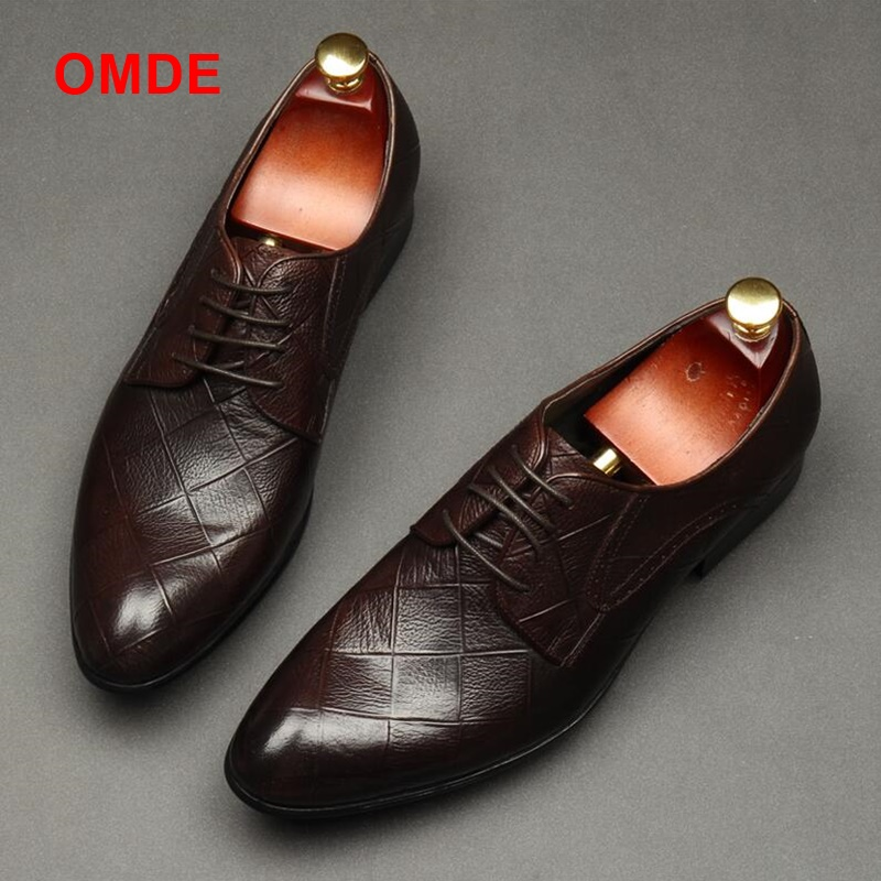 OMDE Newest Style British Plaid Leather Shoes High Quality Lace-up Formal Shoes Men Dress Shoes Fashion Pointed Toe Man Shoes black leather british style carved men brogue shoes pointed toe lace up flat men bussiess dress men shoes high quality