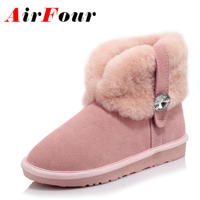 ФОТО Airfour New Fashion Ankle Boots for Women Flats Shoes Rhinestone Charms Shoes Woman Winter Boots Flats Platform Shoes Snow Boots
