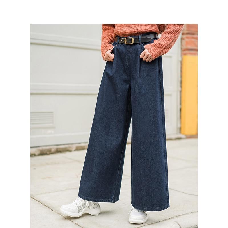 Femmes Hiver 2018 Nouvelle Blue Pantalon Haute Inman Taille Large Femelle Arrivée Mince Lâche Rétro gP14x5wqn