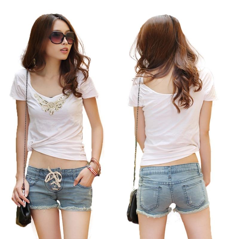 Online Shop Lacing denim shorts female 2013 slim tight fitting ...