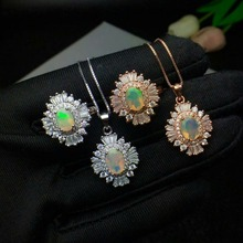 shilovem 100% 925 silver sterling natural opal pendants necklace  rings classic fine Jewelry plant wholesale ctz68j57ago