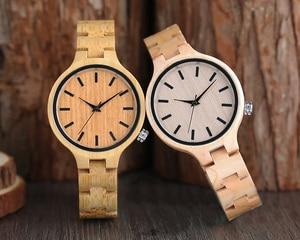Image 2 - ساعات خشب الخيزران الطبيعي السيدات المألوف كوارتز ساعة اليد ساعة خشبية الإناث ساعة Relogio Feminino zegarek damski