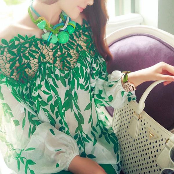 Lady Women Green Leaf Blouse Hollow Long Sleeve Blouse Lace Crochet