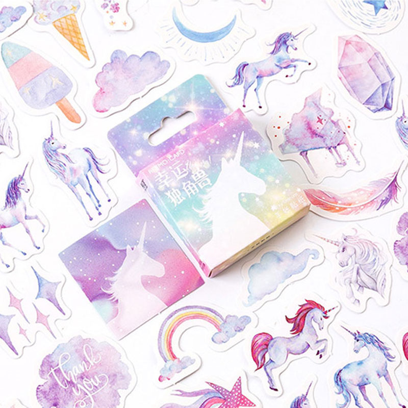 46Pcs/pack Lucky unicorn Sticker Decorative Mini Adhesive Stickers DIY Diary Scrapbooking Stationery School Supplies