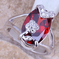 Absorbing Red Created Garnet Silver Stamped 925 Women's  Ring Size 6 / 7 / 8 / 9  R0947