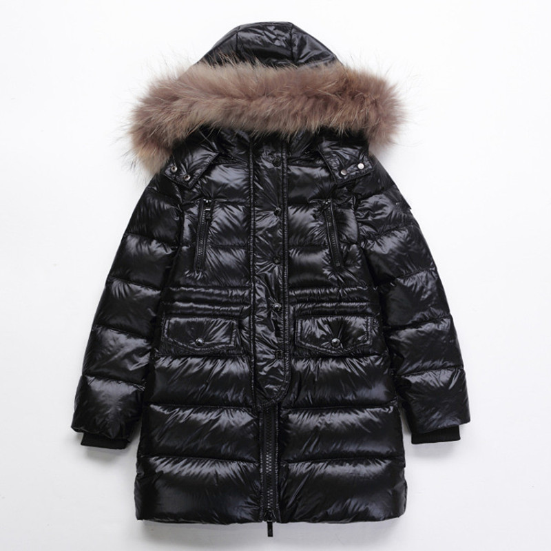 Brand Winter Down Coats Kids Thickening Boys Goose Down Parka With Big Fur Collar Girls Long Jackets Black Red Blue Outwear Sale golden goose deluxe brand повседневные брюки