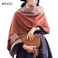Vancol плюс размер женщин зимы кашемира шарф дамы мягкий обернуть женские платки и шарфы длинный полосатый женщина платок 200 см Х 62 см