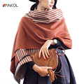 vancol plus size women cashmere winter scarf ladies soft wrap female shawls and scarves long striped woman shawl 200cm X 62cm