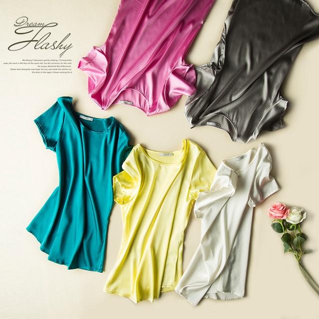 Camiseta de seda 100% Natural de Cetim de seda camisa Das Mulheres T de manga Curta Sólidos casual Top Blusas femininas Primavera Verão 2016