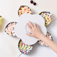 5 grid plastic dried fruit snack seed storage box creative DIY rotating desktop fruit candy storage space protection organizer