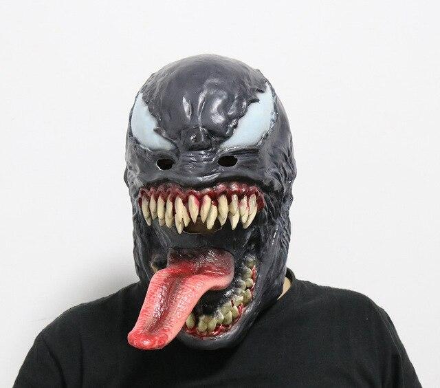 Máscara de Halloween Cosplay Máscaras De Látex de Personagem do Filme do homem aranha Veneno Capacete Red Tongue Escuro Superhero Halloween Party Props