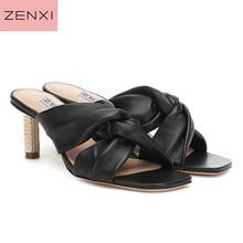 купить Strange Heel Summer Women Slippers 8CM High Heel Sandals Mules Women Pumps Dress Shoes Woman Outside Slides black leather по цене 6335.63 рублей