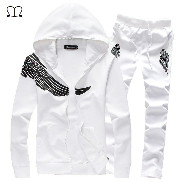 new styles fe214 f7424 Mens Track suits 2017 Sportswear Men Tracksuits New Brand Wing Print White  Sportwear Set Golden Embroidery Zipper Tracksuit 5XL