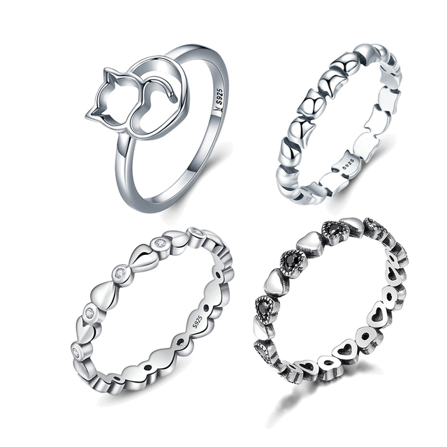 WOSTU 100% Real 925 Sterling Silver Forever Heart Linked To Heart Stackable Wedd