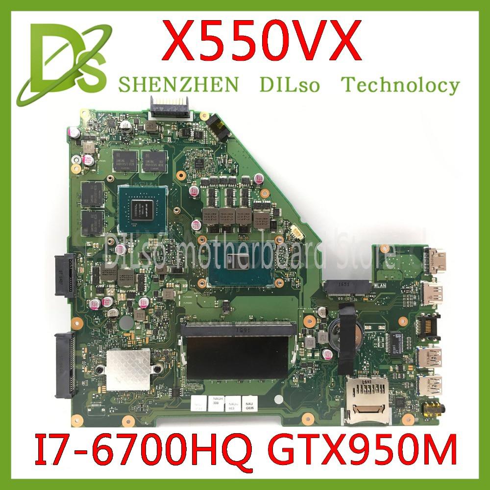 KEFU X550VX Motherboard For ASUS X550VX FZ50VX FH5900V I7-6700HQ GTX950 Video Card Laptop Motherboard Tested 100% Work Original