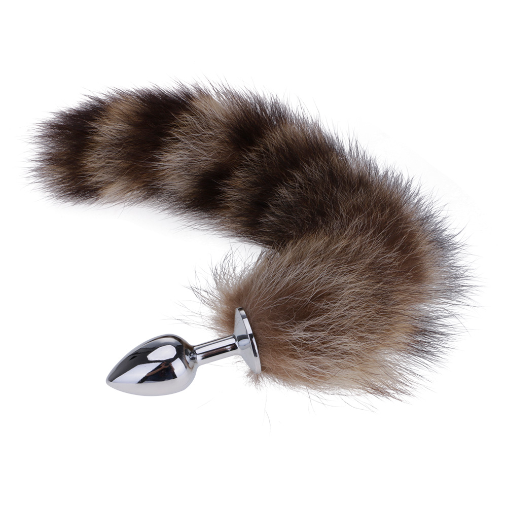Adult Metal Anal Butt Plug With 35cm Length Fox Tail Gags Practical Jokes Toy