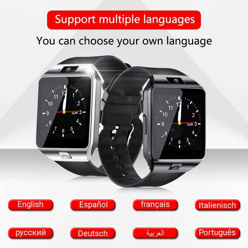 Reloj inteligente DZ09 compatible con cámara TF SIM para hombre y mujer, reloj de pulsera deportivo Bluetooth para teléfono Samsung Huawei Xiaomi Android