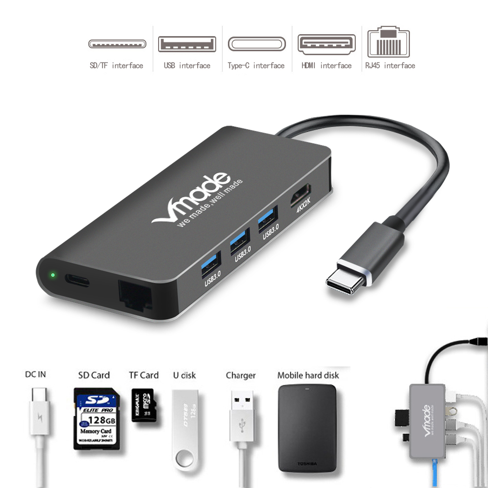 Image 4 - Vmade USB C 3.0 HUB Type C to HDMI Thunderbolt 3 Mini Adapter for MacBook Samsung Galaxy S9 Huawei P20 Type C 8 in 1 Converter-in USB Hubs from Computer & Office
