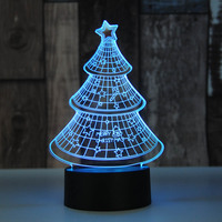 Christmas Tree Shark Santa Claus 3D Lights Christmas 3D Led Night Light Novelty USB Touch Switch