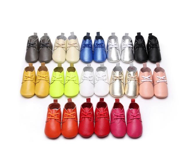50 pares/lote primavera estilo Couro Genuíno Mocassins Shoes lace up sólidos bebés Recém-nascidos Sapatos de Bebê primeiros Sapatos da criança walker