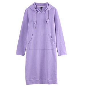 Image 5 - Toyouth חדש סתיו ארוך סוודר שמלות לנשים ארוך שרוול Pokects מקסי גבירותיי שמלת כותנה H קו מוצק Vestidos mujer